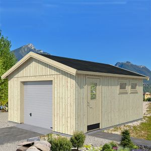 Palmako Andre 4.5m x 5.5m Wooden Garage - Up and Over Door