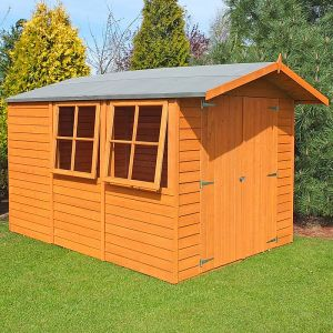 10'x7' (3x2.1m) Shire Overlap Double Door Wooden Garden Shed with Opening Windows