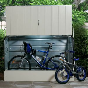 6'4 x 2'9 Trimetals Metal Bike Shed - Cream (1.95m x 0.88m)