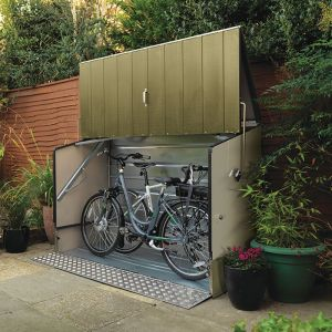 6'4 x 2'9 Trimetals Ramped Metal Bike Shed - Green (1.95m x 0.88m)