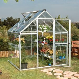 6'x6' (1.8 x 1.8m) Palram Harmony Silver Greenhouse - Clear Polycarbonate and Aluminum