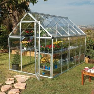 6'x10' (1.8 x 3m) Palram Harmony Silver Greenhouse - Clear Polycarbonate and Aluminum