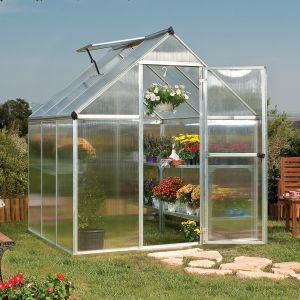 6'x6' (1.8 x 1.8m) Palram Mythos Silver Greenhouse - Twinwall Polycarbonate and Alumium
