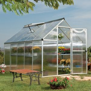 6'x10' (1.8 x 3m) Palram Mythos Silver Greenhouse - Twinwall Polycarbonate and Aluminum
