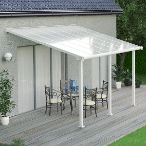 10'x14' (3x4.25m) Palram Olympia White Patio Cover With Clear Panels
