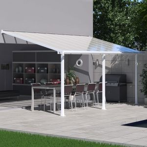 18'x10' (3x5.46m) Palram Olympia White Patio Cover With Clear Panels