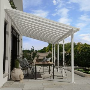 10' x 28' Palram Canopia Olympia White Patio Cover with Clear Panels