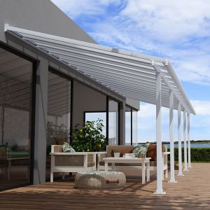 10' x 32' Palram Canopia Olympia White Patio Cover with Clear Panels