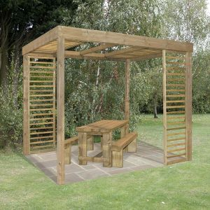 10'x8' (3.036x2.436m) Arbour-Plus Florence Pergola with Panels