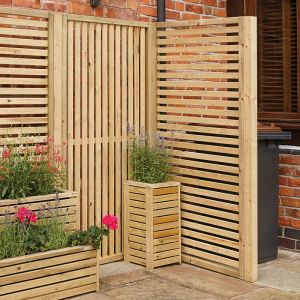 6ft High Rowlinson Vertical Slat Screen (Pack of Two)