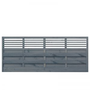 Rowlinson 6' x 3' Sorrento Grey Fence Panel with Slatted Top (1.8m x 0.9m)