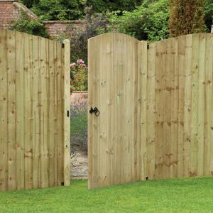Forest Heavy Duty 3' x 6' Tongue and Groove Pressure Treated Wooden Side Garden Gate