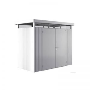 8' x 4' Biohort HighLine H1 Silver Metal Double Door Shed (2.52m x 1.32m)