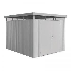 8' x 9' Biohort HighLine H5 Silver Metal Double Door Shed (2.52m x 2.92m)