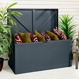 4' x 2' Rowlinson Metal Rattan Effect Garden Storage Box - Anthracite (1.3m x 0.69m)