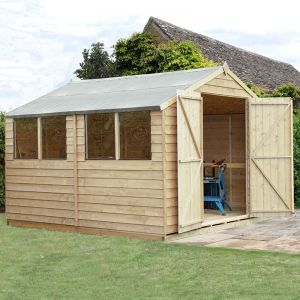 10' x 10' Forest Overlap Apex Pressure Treated Wooden Double Door Shed