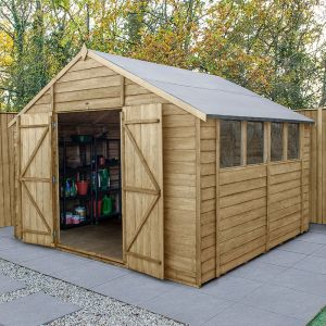 10' x 10' Forest Overlap Pressure Treated Double Door Apex Wooden Shed
