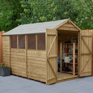 10' x 6' Forest Overlap Pressure Treated Double Door Apex Wooden Shed