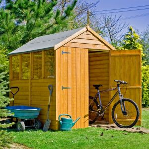 7'x5' (2.1x1.5m) Shire Overlap Double Door Dip Treated Shed with Windows