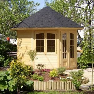 9'x9' (3.1 x 2.9m) Palmako Veronica 28mm Log Cabin - 2 Windows