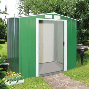 6'x6' (1.8x1.8m) Store More Sapphire Apex Green Metal Shed