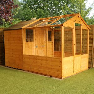 10' x 6' Windsor Traditional Shiplap Wooden Apex Greenhouse Combi Shed