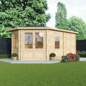 Alpine Aspen Plus LH 5m x 3m Log Cabin with Side Shed 28mm