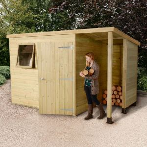 7'x5' (2.1 x 1.5m) Shed-Plus Champion Heavy Duty Pent Shed - Single Door on Right with 3' Logstore on Right