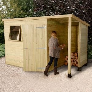 8'x6' (2.4 x 1.8m) Shed-Plus Champion Heavy Duty Pent Shed - Single Door on Right with 3' Logstore on Right