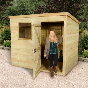 8'x6' (2.4 x 1.8m) Shed-Plus Champion Heavy Duty Pent Shed - Single Door on Right