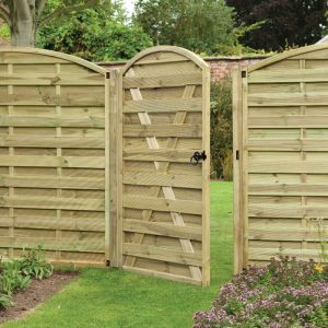Forest Duston (Europa) 3' x 6' Dome Topped Pressure Treated Wooden Side Garden Gate