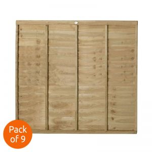 Forest 6' x 5' Pressure Treated Lap Fence Panel - Pack of 9