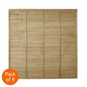 Forest 6' x 6' Pressure Treated Lap Fence Panel - Pack of 9