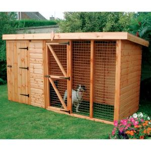 10' x 4' (3.05x1.22m) Traditional Pent Kennel 6' Run Pet House