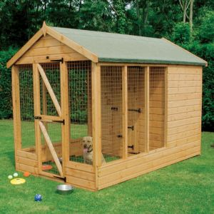 10' x 6' (3.05x1.83m) Traditional Apex Wooden Kennel 6' Run - Pet House