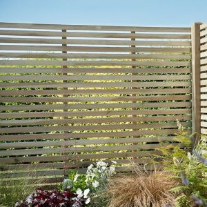 Forest 6' x 5' Pressure Treated Contemporary Slatted Fence Panel (1.8m x 1.5m)
