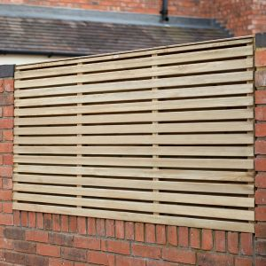 Forest 6'x3' Pressure Treated Contemporary Double Slatted Fence Panel (1.8m x 0.91m)
