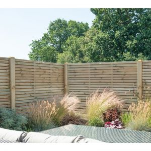Forest 6' x 5' Pressure Treated Contemporary Double Slatted Fence Panel (1.8m x 1.5m)