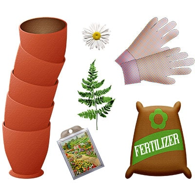 drawings of fertiliser, pots, seeds, plants and gardening gloves