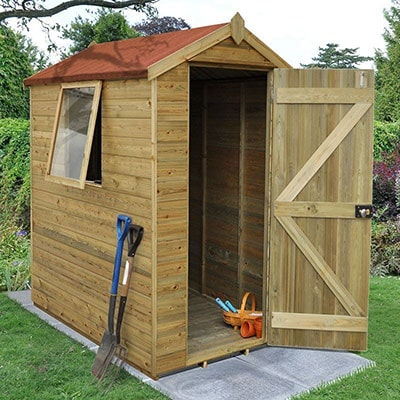 a 6x4 wooden shed with tongue and groove cladding, a red roof cover, the door open, the window ajar and tools outside