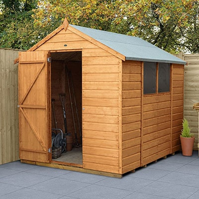 8x6 wooden shed with apex roof, shiplap tongue and groove, open door and windows, sited on a patio