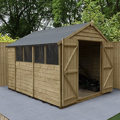 8x10 wooden apex shed with double doors and windows on a patio in a garden setting