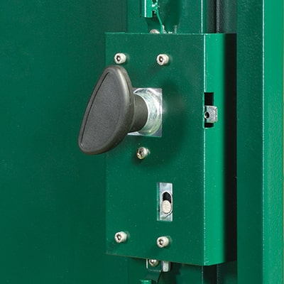 close up of a metal shed locking system on the back of the shed door