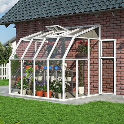 a lean-to sunroom with a white frame, single door and roof vent