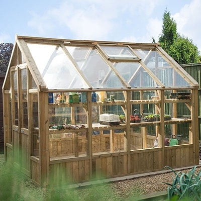 a 10x8 wooden greenhouse with double doors and a roof vent