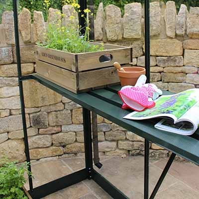 a seed tray and gardening tools sat on green greenhouse staging