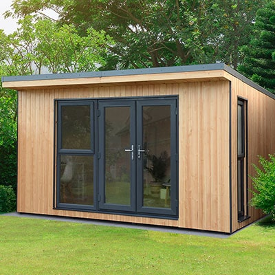 a wooden garden office with glazed double doors and windows