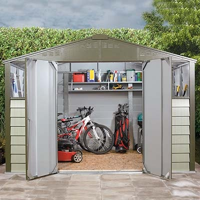 10x8 grey metal shed with open doors showing contents including bikes, mower and full shelves