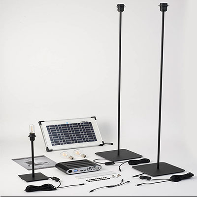 solar power hub and light fixtures from Shedstore