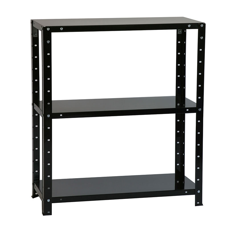 Image of 3'x2' (0.8x0.7m) 3 Tier Bolted Black Shelving Unit